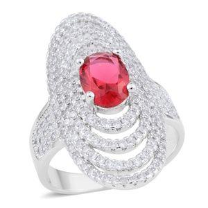 Simulated Ruby, Simulated Diamond Silvertone Ring